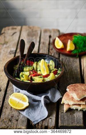 Hot Potato Salad With Scallion Vinaigrette. Selective Focus