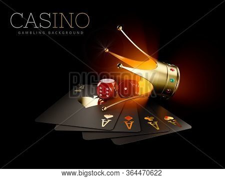 3d Rendering Of Play Cards With Red Dice And Gold Crown, Casino Background. Gambling Template. Clipp