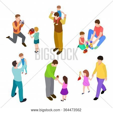 Fathers And Kids. Isometric Joint Activity Of Dads And Children. Vector Men And Kids Playing. Dad Or