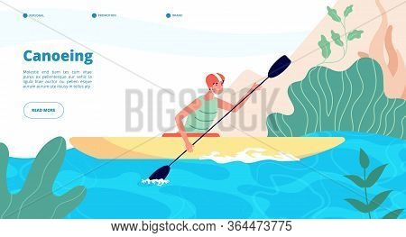 Canoeing And Kayaking. Water Sport Website Template. Man In Kayak In Blue Lake. Extreme Activity, Fu