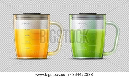 Realistic Measuring Glasses With Juice. Green And Orange Freshes. Fruit Vegetables Drinks, Summer Ve