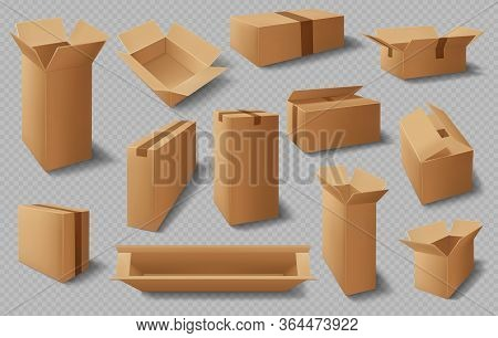 Boxes, Cardboard Cases, Realistic Carton Package, Vector, Delivery Packs, 3d Isolated Storage Mockup