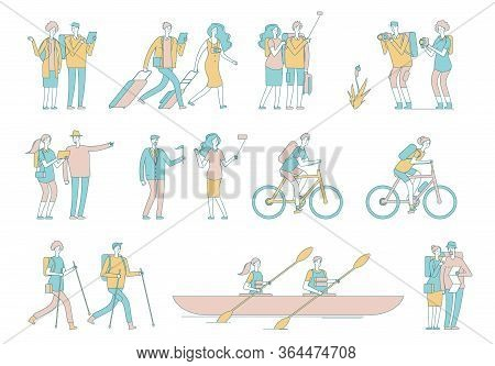 Travel People. Tourist, Woman Man Luggage And Bags. Hiking, Cycling And Kayaking. Summer Outdoor Act