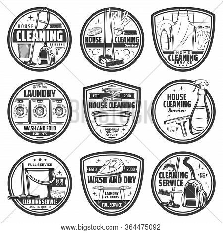 Cleaning, Laundry And Washing Vector Icons, House Cleaning. Home Vacuum Cleaner And Iron, Laundry Wa