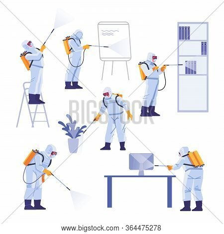Professional Contractors Doing Pest Control At Office. Coronavirus Protection. Hazmat Team In Protec