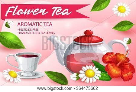 Herbal Tea, Hibiscus, Chamomile And Mint, Vector Poster. Herbal Or Floral Aromatic Tea Cup, Brewing