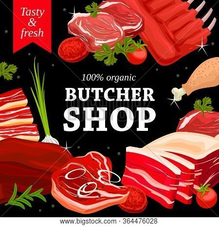 Pork And Beef Meat, Chicken Leg, Veal And Lamb Butchery Shop Vector. Butchery Store Pork Bacon, Meat