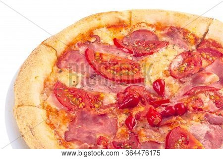 Tasty Homemade Pizza On A White Plate With Tomatoes And Ham. Italian Food Isolated On The White Back