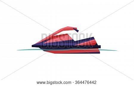 Jetski, Speedboat, Modern Water Transport, Summer Vacation Design Element Vector Illustration