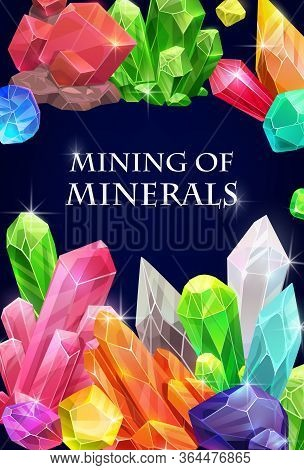 Crystals, Gemstones And Gem Stone Minerals. Gemstones And Jewel Crystals Diamond, Gem Minerals Minin