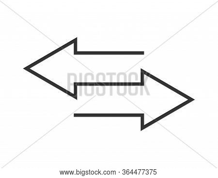 Arrow Transfer Symbols In Black And White. Exchange Symbol With Arrows In Flat Outline Design. Isola