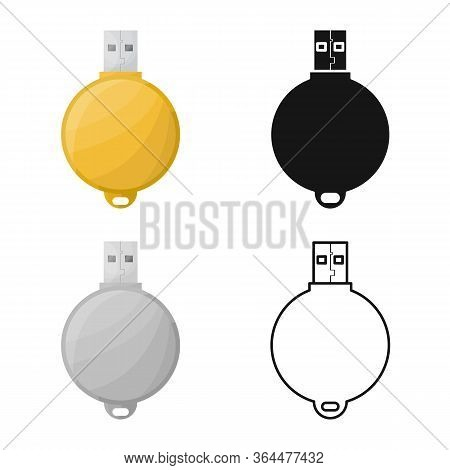 Vector Design Of Usb And Memory Sign. Graphic Of Usb And Ram Vector Icon For Stock.