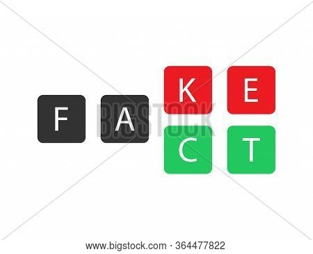 Fact Or Fake Text In Square Objects. True Or False Information Icon. Isolated Illustration Message T