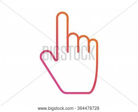 Hand Click With Finger. Thumb Pointer Button Clicking Or Taping. Touch Or Push Symbol. Isolated Colo