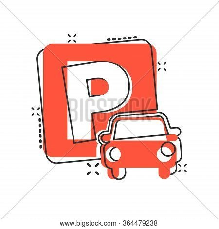 Car Parking Icon In Comic Style. Auto Stand Cartoon Vector Illustration On White Isolated Background
