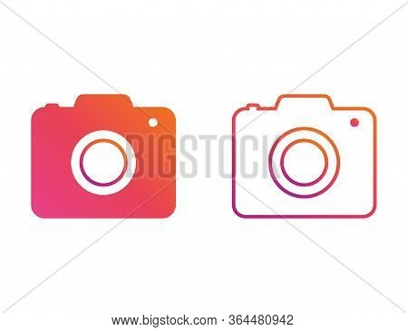 Photo Camera Icon In Colorful Rainbow Design. Isolated Simple Photographic Symbol In Gradient Style.