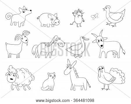 Cartoon Farm Animals. Domestic Bool Horse Sheep Lamb Chicken Pig Vector Funny Drawn Collection. Illu