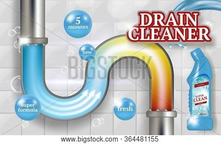 Cleaning Pipes. Ads Placard Of Bathroom Piping Drain Plumber Vector Realistic Promotional Poster Fre