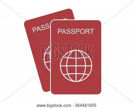 Passport Id In Flat Design. Identification Document For International Travel. Illustration Of Citize