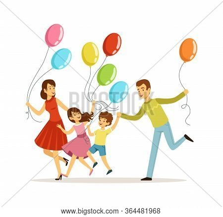 Family Festive Day. Parents With Children Spend Time Together. Boy Girl Father And Mother With Color