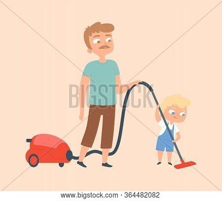 Father And Son Vacuuming. Householding, Apartment Cleaning. Man And Baby Boy With Vacuum Cleaning Ve