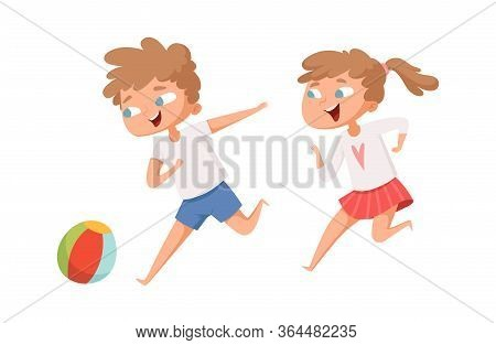 Kids Play Ball. Running Cartoon Boy And Girl. Isolated Happy Children Playing Together Vector Illust