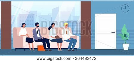 People Sitting In Hallway. Office Workers, Interview Waiting Line. Woman Man On Sofa In Business Hal
