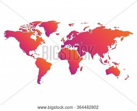 Earth Map In Colorful Gradient Design. Insta Style Of Globe Planet. Modern Continent In Rainbow Styl