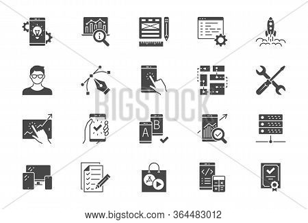 Application Development Flat Icons. Vector Illustration Included Icon As Mobile Software, App Ux Pro
