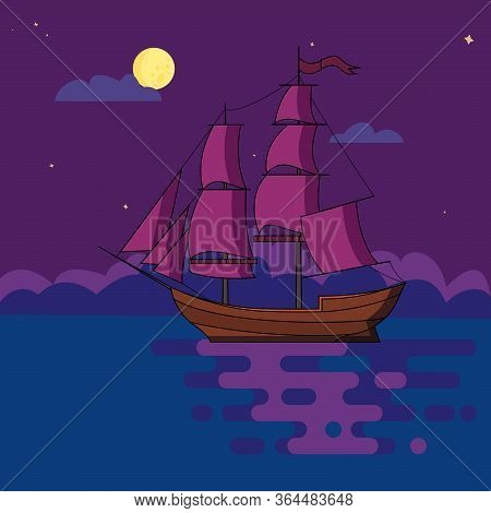 Ship With Sails Sailing At Night In Light Of Full Moon Under Starry Sky In Calm Sea Waters. Poster,