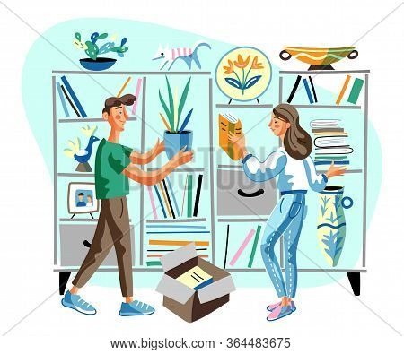 Bookshelf Decorating Flat Vector Illustration. Boyfriend And Girlfriend Cartoon Characters Putting H
