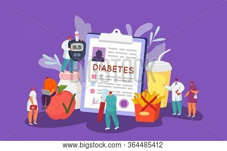 Diabetes Control Glucose Healthcare Concept, Vector Illustration. Doctor Character Diagnosis Care, D