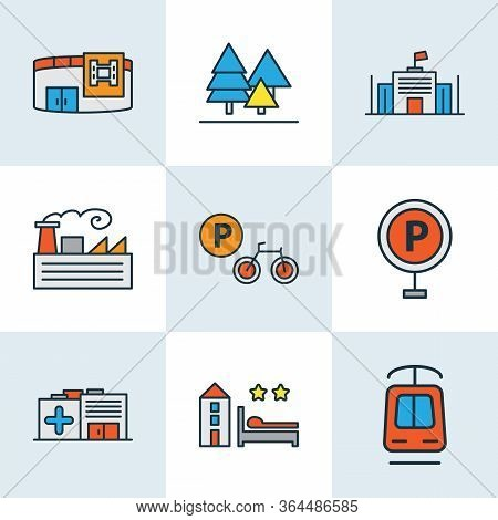Urban Icons Colored Line Set With Tramway, Bicycle Parking, Cinema And Other Streetcar Elements. Iso