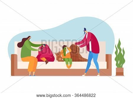 Flu Season At Family, Cold Disease Care, Vector Illustration. Woman And Child Character With Fever,