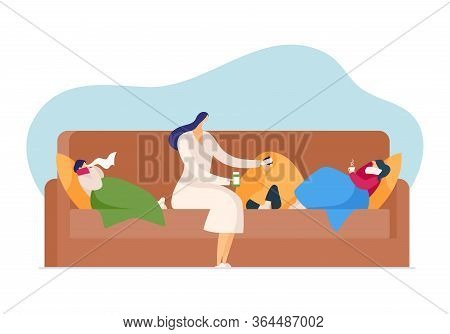 Care About Cold Disease, Flu Fever Season In Family, Vector Illustration. Flat Character Ill Health,