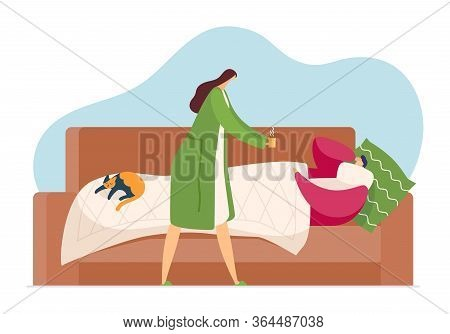 Man With Cold Lying In Bed, Flu Season In Couple, Vector Illustration. Cartoon Sick Character Diseas