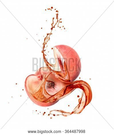 Juice Splashes Out From The Cutted Peach On A White Background