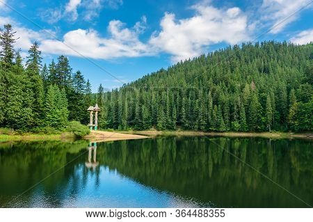 Lake Scenery Among The Forest In Mountains. Beautiful Alpine Landscape In Summer. Synevyr National P