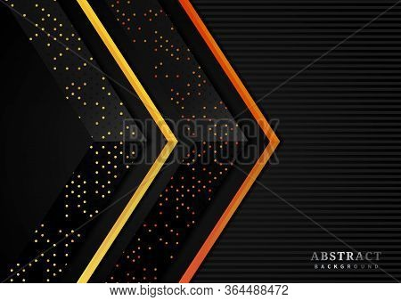 Abstract Vibrant Color Triangle Geometric Overlap Layer With Glitter And  Glowing Dots On Black Back