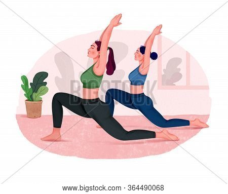 Illustration Of Group Of Women Doing Yoga Indoors. Yoga Class.