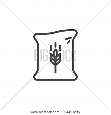 Sack Of Flour Line Icon. Linear Style Sign For Mobile Concept And Web Design. Bag Of Wheat Flour Out