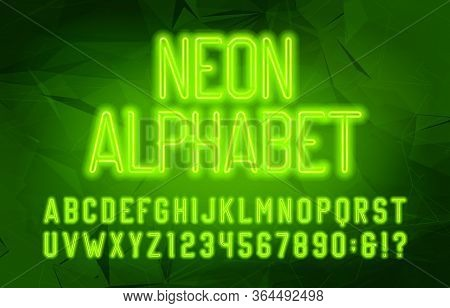 Neon Alphabet Font. Green Neon Color Letters And Numbers. Abstract Background. Stock Vector Typescri