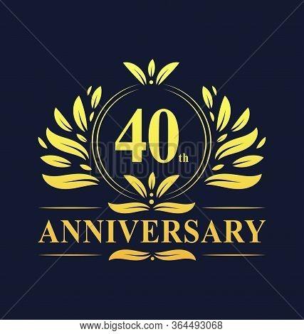 40th Anniversary Design, Luxurious Golden Color 40 Years Anniversary Logo Design Celebration.