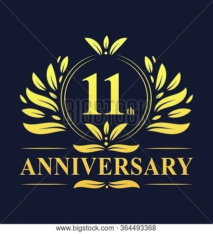 11th Anniversary Design, Luxurious Golden Color 11 Years Anniversary Logo Design Celebration.