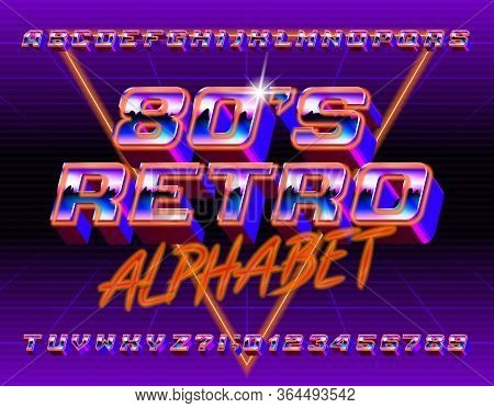 80s Retro Alphabet Font. 3d Retro Letters And Numbers. Stock Vector Typescript In 80s Style For Your