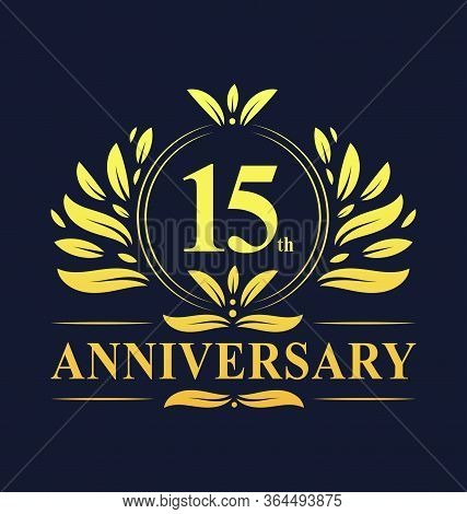 15th Anniversary Design, Luxurious Golden Color 15 Years Anniversary Logo Design Celebration.