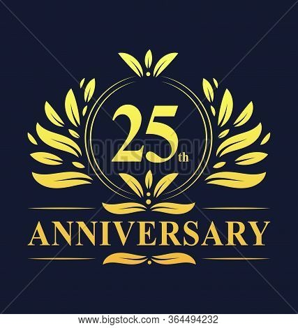 25th Anniversary Design, Luxurious Golden Color 25 Years Anniversary Logo Design Celebration.