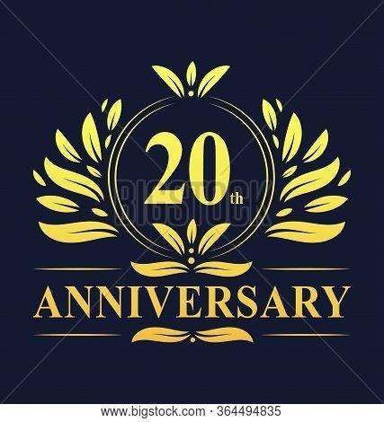 20th Anniversary Design, Luxurious Golden Color 20 Years Anniversary Logo Design Celebration.