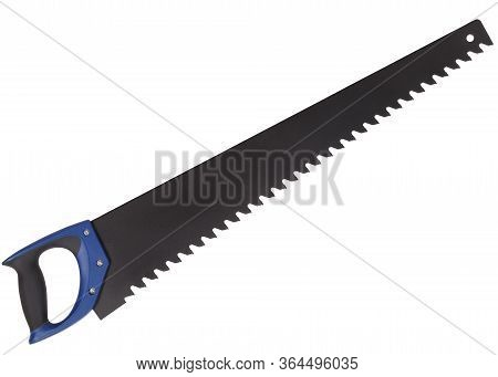 Aerated Concrete Saw With Blue Handle Isolated On White Background