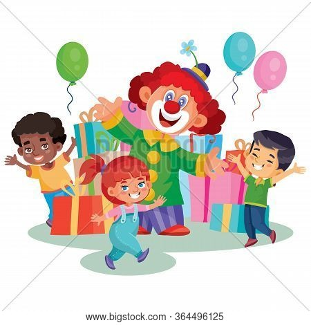Happy Kids Celebrate A Birthday. A Cheerful Clown Makes A Surprise, Gives Children Gifts. , Cartoon